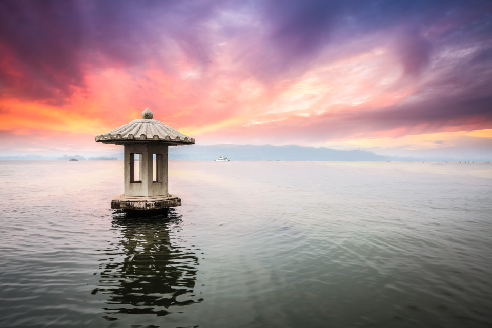hangzhou scenery in sunset beautiful the west lake landscape China