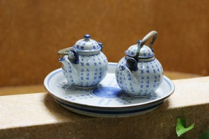 Pretty blue and white Asian pottery tea set.